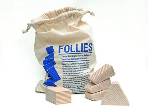 Stapelturm Follies Plus (30 Formen!) Komplettset   Turmspiel Geschicklichkeitsspiel   30 Bauklötze aus unbehandeltem einheimischen Holz   Turm Bauen für Groß&Klein  Jenga + gratis Schlüsselanhänger