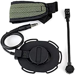 Morning May Z Tactical Bowman Elite II Oreillette Airsoft Mic Radio Boom 3 Vert + Noir pour Z Tactical HD-03 Best C2130G