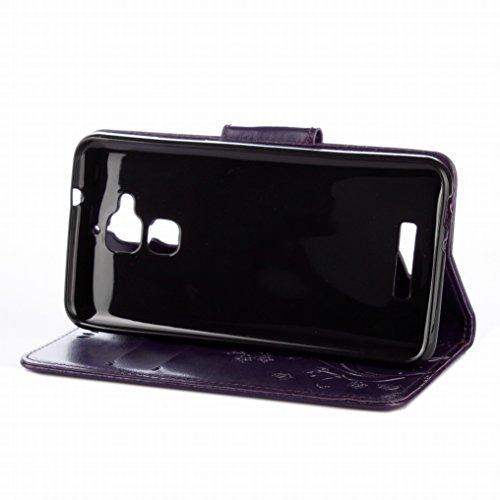 Custodia Asus Zenfone 3 Max / ZC520TL Cover Case, Ougger Fiore Farfalla Portafoglio PU Pelle Magnetico Stand Morbido Silicone Flip Bumper Protettivo Gomma Shell Borsa Custodie con Slot per Schede (Vio Viola