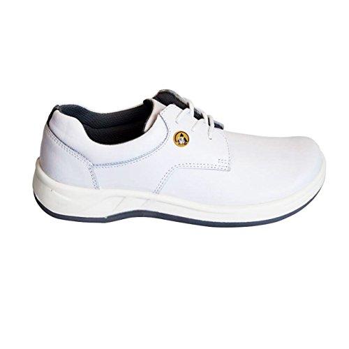 bianco lavoro vera lacci scarpe pelle Best da Medical Scarpe con Damen Bianco HSM ESD q7YZYA