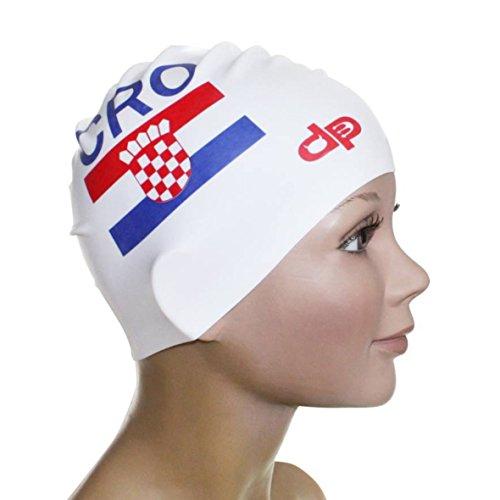 Diapolo Professionale Schwimmkappe Kroatisch 2 Silikon Badekappe Bademütze Schwimmmütze für Damen und Herren und Mädchen und Jungen