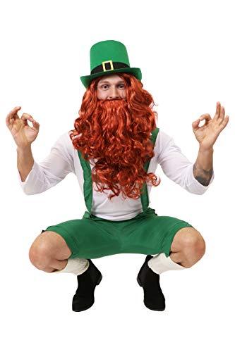 Zwerg Kostüm Rote - ILOVEFANCYDRESS Irland Leprechaun Zwerge KOSTÜM VERKLEIDUNG=GRÜNE 3/4 Latzhose+WEISSES Oberteil+ROTE PERÜCKE+BART= Kobold IRISCHER GLÜCKSBRINGER ST.Patricks Day =XXLarge