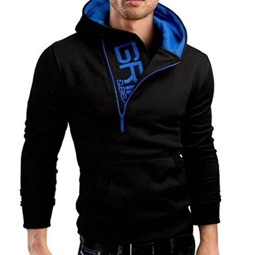Camiseta para Hombre,DoraMe Hombres de manga larga sudadera con capucha zip Tops chaqueta abrigo ropa (L, Negro)