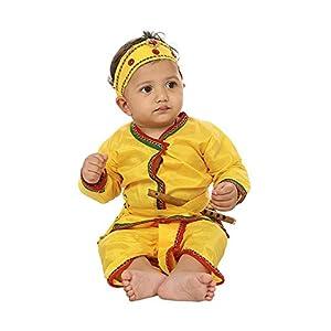 FOCIL Krishna Costume Dhoti Kurta Dress for Kids (Pack of 4-Basuri,Mor Pankh Mukut,Bandhni Patka & Dhoti Kurta)