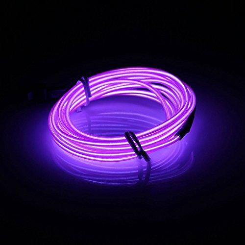 MASUNN 2 M El LED Flexible Soft Tube Fil Neon Glow Voiture Corde Bande Lumière Xmas Decor DC 12V-Violet