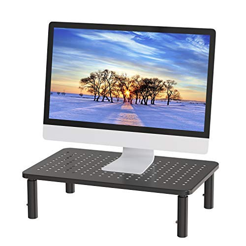 Monitor Stand Riser - 3 Height Adjustable Monitor Stand for Laptop, Computer, PC, Printer, Desktop Ergonomic Metal Monitor Riser Stand with Mesh Platform for Airflow by HUANUO