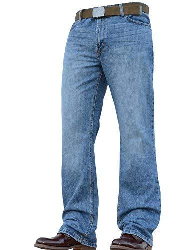 Neu mit Etikett Neu Herren Designer Bootcut Ausgestellt Weites Bein Schwer Jeans Hose Alle Taillen und Größen - Hellblau, 34W / 30L Essentials Bootcut Jeans