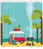 Soefipok Rideau de Douche, Camping avec Mobil-Homes pour Barbecue et Surfs, Arbres Tropical Beach Banana, Noix de Coco, décor de Salle de Bain en Tissu avec Crochet, Bleu pâle