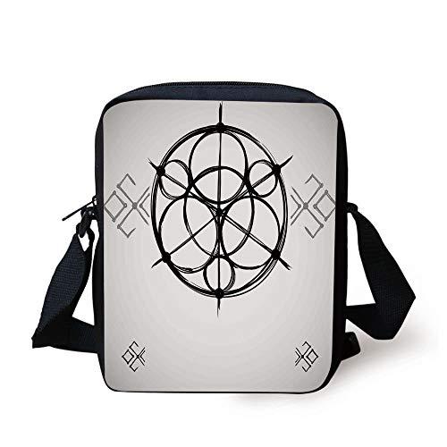 Sacred Geometrty Decor,Sketchy Geometric Plan with Swirled Spiral Origins Cosmos Universe Decor,Multi Print Kids Crossbody Messenger Bag Purse -