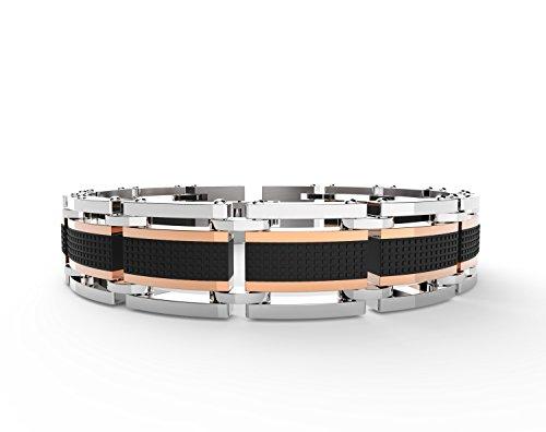 Acier inoxydable Lien poignet Bijoux Mode Croix Bracelets pour hommes, réglable (Or rose/noir classique) Black and Rose Gold