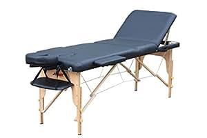 H-ROOT 3 sezioni, con confezione leggera e portatile, Tavolo da massaggio base divano letto terapia Tatoo Salon Reiki Healing svedese massaggio leggero 13,5 kg (Nero)