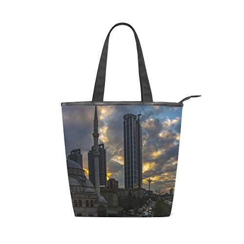 Stilvolle Leinwand Tote Bag Handtasche 14 X 4,5 X 15 Zoll Cute City In The Sunset