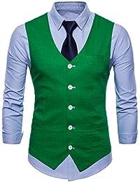 03cf9fc5eaa7b9 INVACHI Slim fit Herren stilvoll Anzugweste Baumwolle-Leinen Weste mit  V-Ausschnitt Freizeit