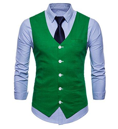 INVACHI Slim fit élégant Homme Gilet de Coton Lin Gilet avec col en V Loisirs - Vert - Large
