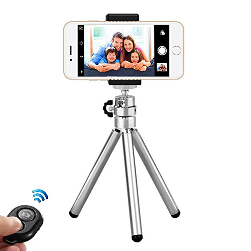 Mini Metal Phones Stativ, Portable Gopro Stativhalterung Mount Stretchable mit Fernauslöser und Universal Clip Adapter Selfie Stativ für iPhone iPad Smartphone, Gopro Kamera und Family Travel Video