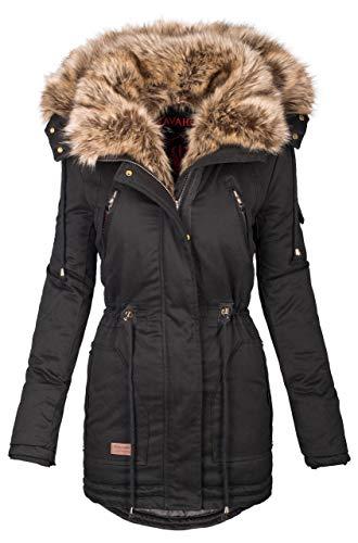 Navahoo warme Damen Winter Jacke Parka lang Mantel Winterjacke Fell Kragen B380 [B380-Schwarz-Gr.M]