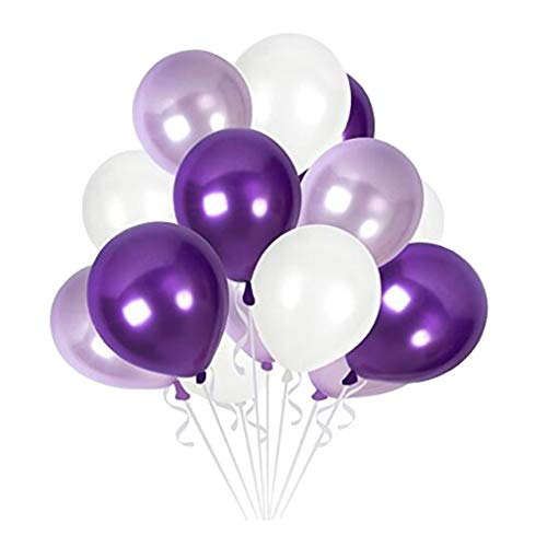 MARRYME 60 Stücke Luftballon Hochzeit Party Ballons 12 Zoll Latexballons für Karneval Geburtstag (Weiß/Lila/Violett) (Und Luftballons Blaue Lila)