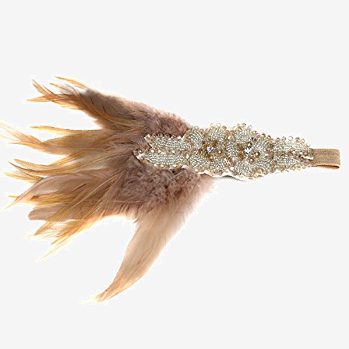 z Retro Glänzend Stirnband Headpiece Kopfschmuck mit Feder Bead für Hochzeitssuite Flapper Kleid 1920er Jahren Thema Partei Pink (1920er Pink Flapper Kostüme)
