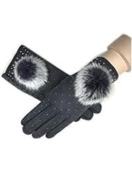 Invierno de MS caliente moda piel bola toque pantalla guantes , 3
