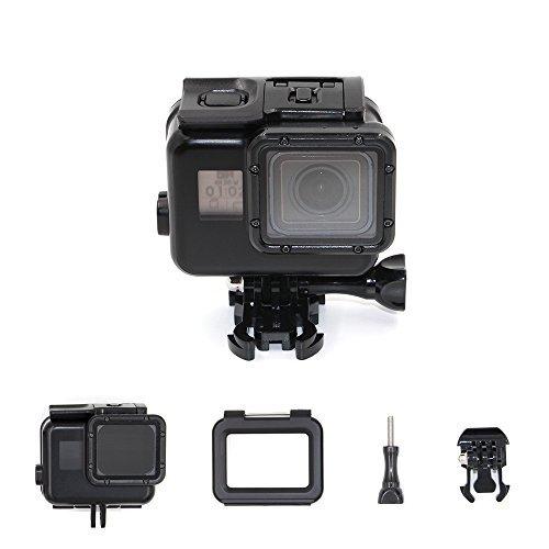 TELESIN 40M housse de boîtier étanche pour GoPro Hero 5 Black, housse de protection de coque en squelette de plongée + écran tactile LCD Housse de porte arrière avec écran tactile transparent - noir