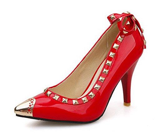 VogueZone009 Femme Tire Verni Pointu Stylet Couleur Unie Chaussures Légeres Rouge