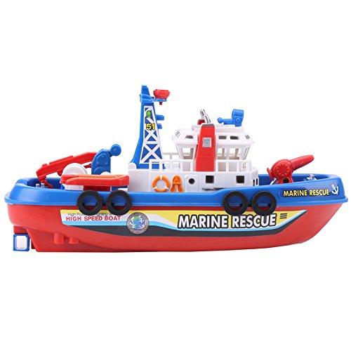 Zerodis Modello di nave di spruzzatura dell'acqua del giocattolo del battello di salvataggio elettrico dei bambini con il giocattolo del bagno della piscina dei bambini della luce del suono del flash