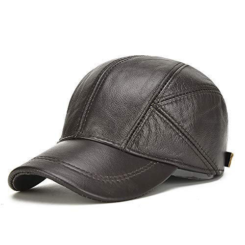 QIAN Middle Aged Autumn And Winter Leather Cap Outdoor Cotton Hearing Protection Keep Warm Baseball Cap, A