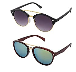 Aventus Sunglasses Combo- Reflective Mirrored Green Aviator Wayfarer Sunglasses & Round Clubmaster Sunglasses for Men & Women (Unisex)