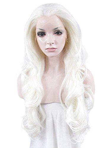 imstyle Kunsthaar 66cm lang lose gewellt Textur Pure Schnee-Weiß Farbe Drag Queen Synthetische Lace Front Perücke (Schnee Weißen Perücken)