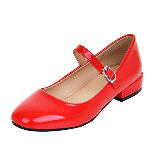 YE Damen Mary Jane Pumps Lack High Heels mit Riemchen und Kleinem Absatz Elegant Schuhe