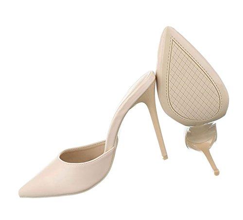 Damen Pumps Schuhe Elegant High Heels Pantoletten Beige