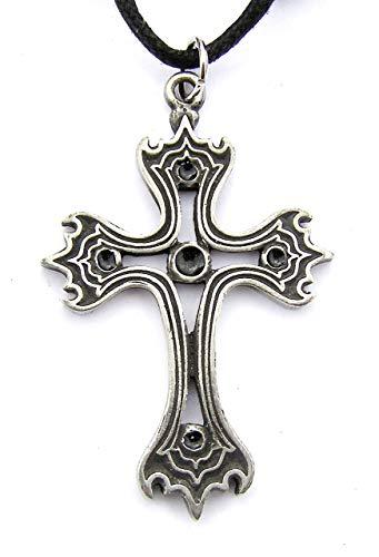 Gothic Kreuz Zinn Anhänger Auf Schnur Halskette 5cm hoch