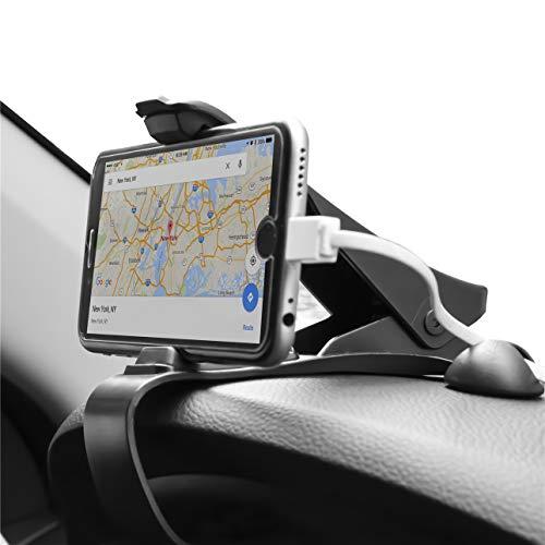 "ZOORE Soporte Teléfono Coche para Salpicadero, HUD Soporte Móvil Coche GPS, Pinza Fuerte de Base Titular Móvil Vehícul Compatible iPhone 6/6s/5/7/8Plus/X, Huawei, Samsung, HTC LG 3.0""a 6.5"" - Negro"