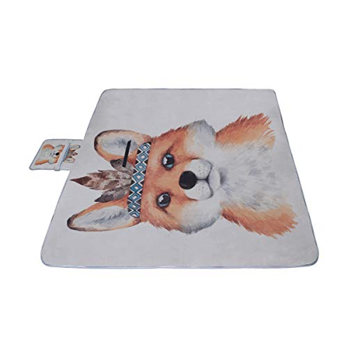 Ute Lovely Mother Fox hijo Wolf Cartoon Picnic Mat