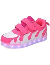 Zapatos Led Niños Niñas, 7 Color USB Carga LED Zapatillas Luces Luminosos Zapatillas Regalo de