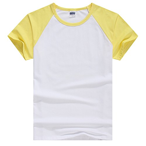 Butterme Unisex Damen Männer Casual Kurzarm Lycra Baumwolle Baseball T-Shirt Raglan Jersey Shirt (Gelb-Herren,S) (Mädchen-raglan-t-shirt Weiße)