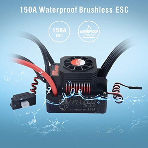 hahuha  Wasserdichter Sensorless Brushless Regler ESC 150A für 1/8 RC Car Buggy