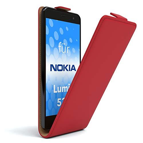 EAZY CASE Hülle für Nokia Lumia 535 Flip Cover zum Aufklappen, Handyhülle aufklappbar, Schutzhülle, Flipcover, Flipcase, Flipstyle Case vertikal klappbar, aus Kunstleder, Rot