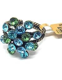KONPLOTT Damen-Ring Magic Fireball, Glas blau-grün Ringgröße verstellbar -5450543219158