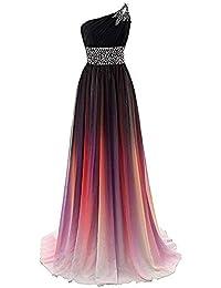 ce0cf7d42 QYS Vestido de gradiente de graduación Vestidos de Noche Formales con  Cuentas Ombre Gasa Vestidos de