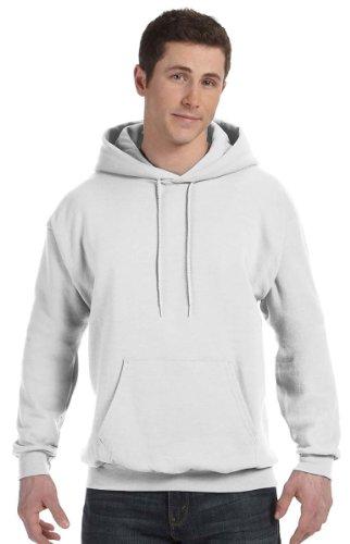 Hanes Mens Fleece Full Cut Athletic Hooded Pullover White