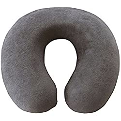 """Linenwalas Memory Foam U Shape,Ortho Therapy Neck Support Travel Pillow with Cover - Grey Color - 12""""x11""""x4""""- Pack 1"""