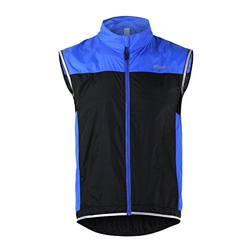 TOFERN Unisex Weste Sportweste reflektierend leicht atmungsaktiv für Laufen Fahrrad Sport , Blau XL (Blaue Rad-weste)