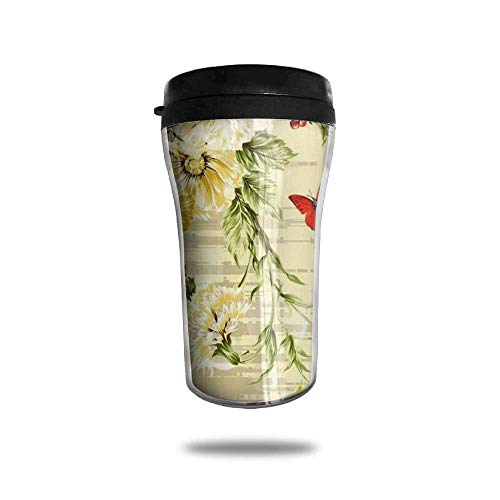Vintage Roses Shadow Ice Coffee Small Coffee Cup Carrying Hand Cup Reusable Plastic Curve Travel Cup Coffee Cup Asymmetric Men Children Teen Adult Shadow-rose-cup