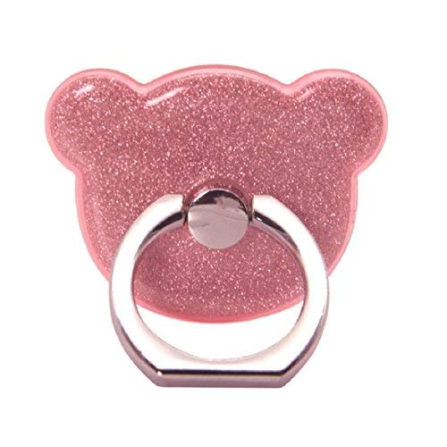 nobio Cartoon Bear Form Glitter Glitzer Puder Finger Ring Halter, Universal Handy Ring Grip Ständer Unterstützung für iPhone Android Handy Small rose (Cute Android-handy-fällen)