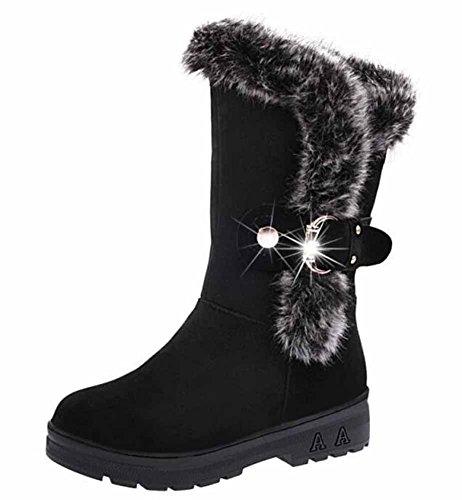 Donne Felpa Stivali Da Neve Inverno Classico Femmina Pelliccia Di Coniglio Caldo Cotone Stivali Grande Dimensione Black