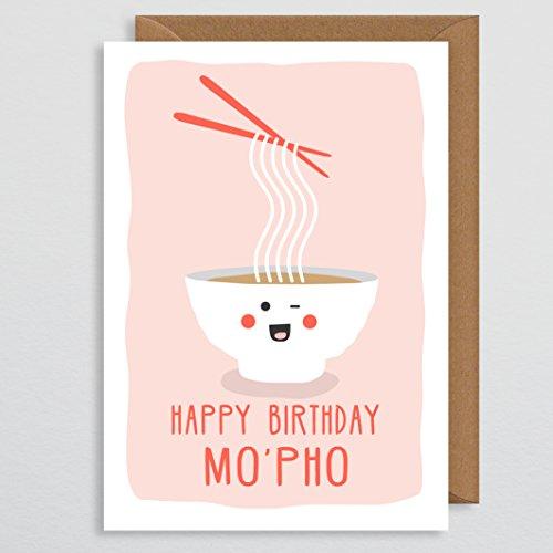 Geburtstagskarte lustig - Happy Birthday Mo-Pho - japanisches Geschenk - Sushi - Kawaii - Feinschmecker-Karte - Wortspiel-Karte - für sie - niedlich - Geburtstagskarte unhöflich - für ihn - Freund