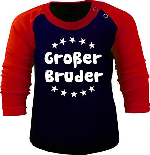 Baby/Kinder Baseball Langarm T-Shirt (Farbe: Navy-rot) (Gr. 110/116) Großer Bruder