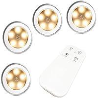 FiveRen 4 Stück wiederaufladbare 5 LEDs Puck Licht mit Fernbedienung, dimmbar Lichter für Flur, Schlafzimmer, Küche, Schränke, Garagen, Lagerung, Zimmer, usw. (Natürliches warmes Weiß)