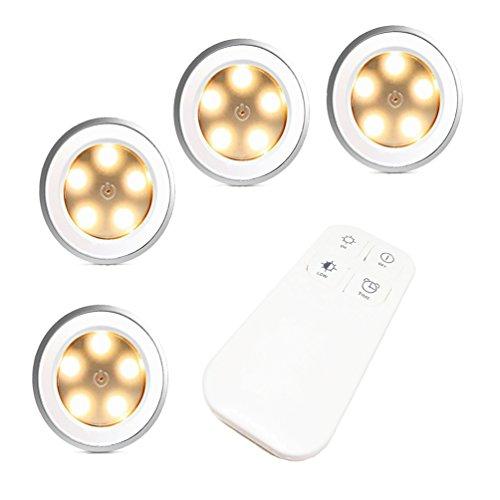 FiveRen 4 Stück wiederaufladbare 5 LEDs Puck Licht mit Fernbedienung, dimmbar Cabinet Light Wireless Spot Licht Stick-On überall Lichter für Flur, Bad, Schlafzimmer, Küche, Schränke, Schränke, Dachböden, Garagen, Autohäuser, Lagerung, Zimmer, etc. (Natürliches warmes Weiß) (Vier Deckenventilator Licht-kit)